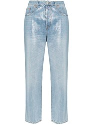 Gucci Sequin Embellished Cropped Jeans Metallic