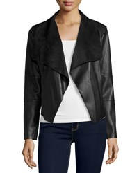 Cusp By Neiman Marcus Faux Leather Open Front Jacket Black