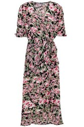 W118 By Walter Baker Wrap Effect Floral Print Ruched Chiffon Dress Multicolor