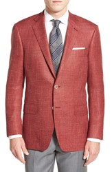 Men's Hart Schaffner Marx Classic Fit Plaid Wool Silk And Linen Sport Coat Red