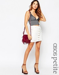 Asos Petite Denim Button Front Mini Skirt In White