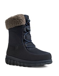 Fitflop Loaff Tm Leather Lace Up Ankle Winter Boots Navy Blue