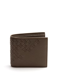 Bottega Veneta Intrecciato Bi Fold Leather Wallet Grey