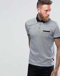 Ted Baker Polo Shirt With Allover Print Navy