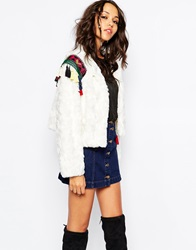 Native Rose Out Of Mongolia Faux Fur Crop Jacket With Embroidered Epaulettes White