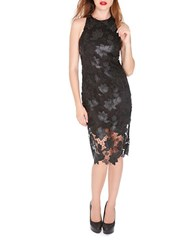 Alexia Admor Lace And Faux Leather Sheath Dress Black