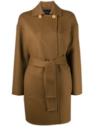 Versace Double Breasted Collar Belted Coat Brown