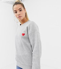 Boohoo Heart Embroidered Oversized Sweat In Gray Gray