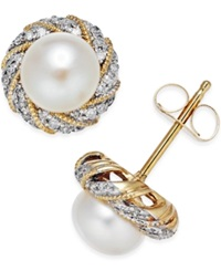 Macy's Cultured Freshwater Pearl 6Mm And Diamond Accent Earrings In 14K Gold
