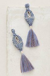 Anthropologie Ekta Statement Fringe Drops Slate