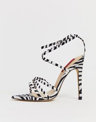 London Rebel Zebra Strappy Stiletto Sandals Multi