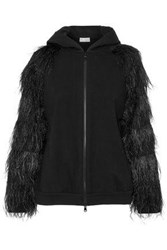 Brunello Cucinelli Feather Trimmed Embellished Stretch Cotton Jersey Hoodie Black