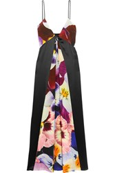 Christopher Kane Floral Print Silk Crepe De Chine Midi Dress Purple