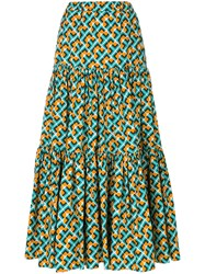 La Doublej Tiered Peasant Skirt Cotton L Blue