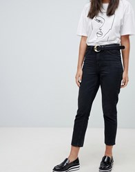 Only High Waist Washed Mom Jean Black