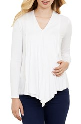 Maternal America Women's Draped Nursing Top Ivory