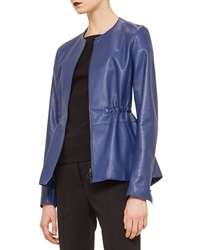 Akris Punto Napa Leather Peplum Jacket Ink