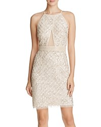 Aidan Mattox Beaded Illusion Inset Cocktail Dress Champagne