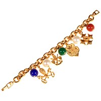 Alice Joseph Vintage 1980S Napier Gold Plated Glass Stone Shield And Bead Charm Bracelet Gold Multi