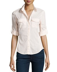 James Perse Contrast Panel Tab Sleeve Blouse No Color