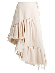 Marques Almeida Ruffle Panelled Asymmetric Denim Midi Skirt Ivory