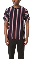 Rag And Bone Disrupted Stripe Tee Navy Bright White Red