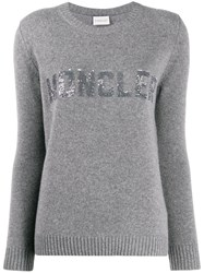 Moncler Sequined Logo Jumper Grey