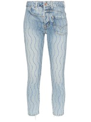 Filles A Papa Crystal Wave Embellished Twisted Jeans Blue