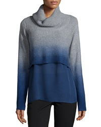 Elie Tahari Raleigh Cashmere Ombre Turtleneck Sweater W Underpinning