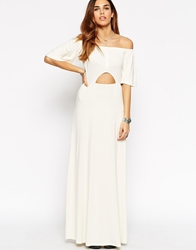 Asos Maxi Dress With Off Shoulder And Cut Out Waist Cream