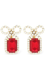 Ca And Lou Louise Ruby Clip On Earrings Gold Red