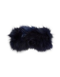 Adrienne Landau Fox Fur Headband Navy Blue