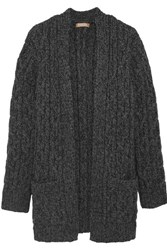 Michael Kors Collection Cable Knit Cashmere Cardigan Gray