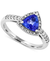 Effy Collection Effy Tanzanite 3 4 Ct. T.W. And Diamond 1 5 Ct. T.W. Trillion Ring In 14K White Gold