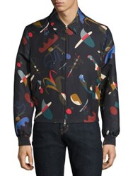 Salvatore Ferragamo Bird Printed Silk Blend Jacket Navy