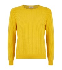 Burberry Cable Knit Cashmere Jumper Male Yellow