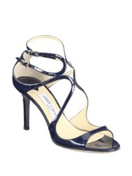 Jimmy Choo Ivette Patent Leather Sandals Navy