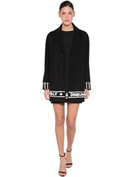 Dsquared Embroidered Hem Wool Cloth Coat Black
