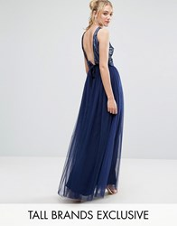 Little Mistress Tall Allover Sequin Bow Back Tulle Prom Maxi Dress Navy