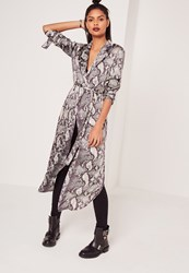 Missguided Snake Print Duster Jacket Multi Multi