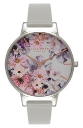 Olivia Burton Women's 'Enchanted Garden' Leather Strap Watch 38Mm Grey Grey