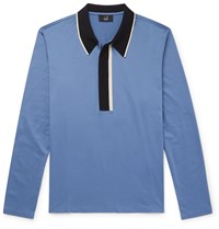 Dunhill Slim Fit Contrast Tipped Cotton Jersey Polo Shirt Blue
