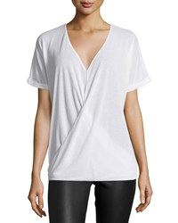 Halston Short Sleeve Wrap Top White