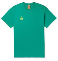 Nike Acg Nrg Logo Embroidered Cotton Jersey T Shirt Green