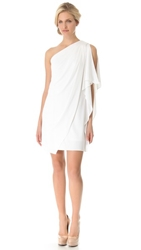 Badgley Mischka Collection One Shoulder Mini Dress White