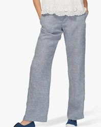 Brora Gingham Linen Trousers Chambray White