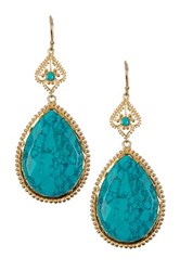 Argentovivo 18K Yellow Gold Plated Sterling Silver Turquoise Teardrop Dangle Earrings Metallic