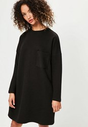 Missguided Black Ribbed Pocket Jumper Dress