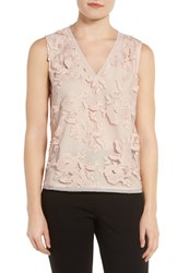 T Tahari Women's Harla Embroidered Shell Pink Tint