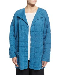 Eskandar Tile Design Jacket Cardigan Inlet Navy